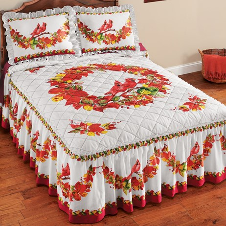 Autumn-colored Flower Wreath Quilt Top Ruffled Queen Bedspread