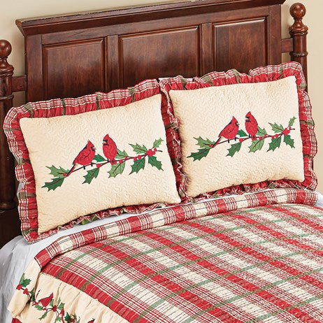 Cardinal Plaid Ruffle Holiday Pillow Sham