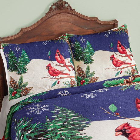 Rustic Winter Cardinal Scene Fleece Sham Set