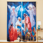Nativity Scene Window Curtain Panel Drapes - Set of 2
