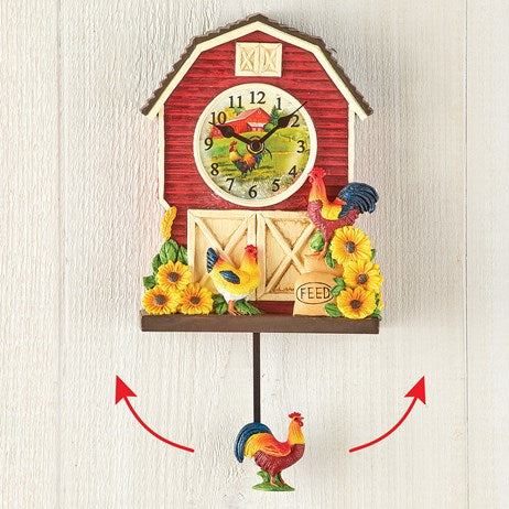 Country Rooster Classic Red Pendulum Clock