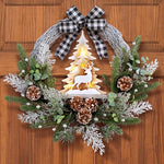 LED Lighted Holiday Deer In The Forest Wreath