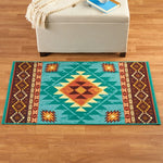 "27""*45"" Printed and Brown Southwest Pattern Accent Rug"