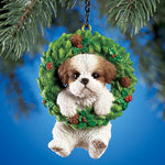 Hand Painted Pet-In-Wreath Hanging Christmas Tree Ornament-Brown Shih Tzu