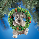 Hand Painted Pet-In-Wreath Hanging Christmas Tree Ornament-Schnauzer