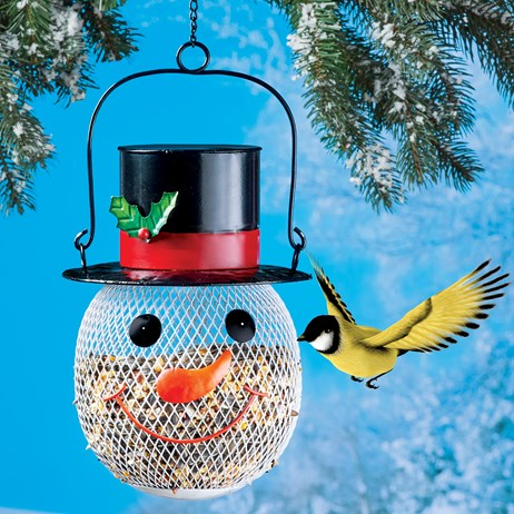 Hanging Metal Mesh Holiday Snowman Outdoor Birdfeeder