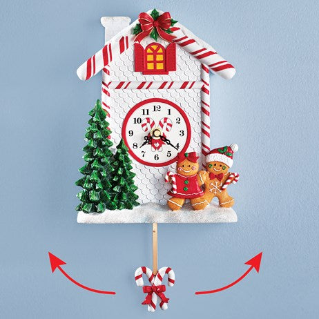 Holiday Gingerbread Cane Pendulum Wall Clock