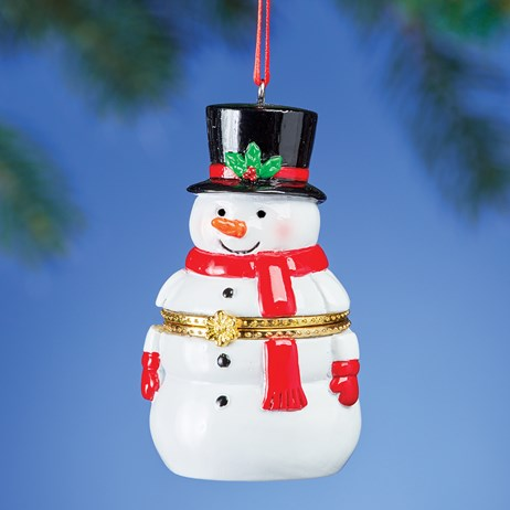 Hand Painted Snowman Holiday Trinket Box Ornament
