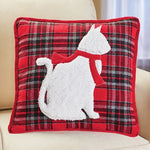 Red and Black Plaid White Cat Accented Throw Pillow
