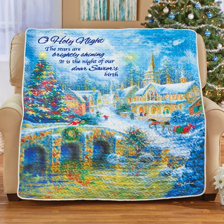 O Holy Night Christmas Village Throw Blanket