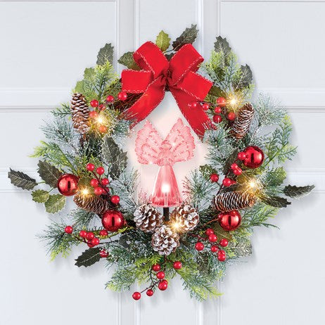 Fiber Lighted Color Changing Holiday Angel Wreath