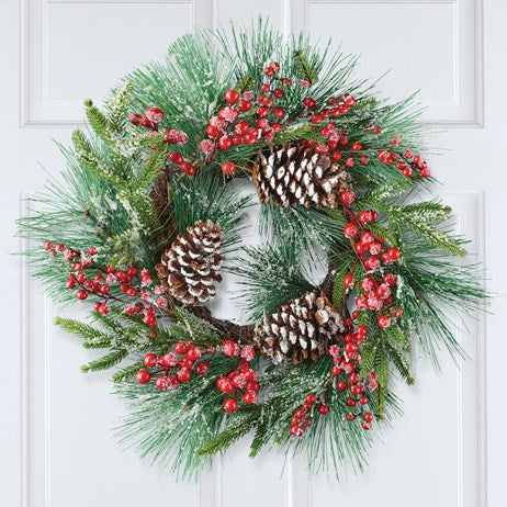Pine and Berry Front Door Wreath