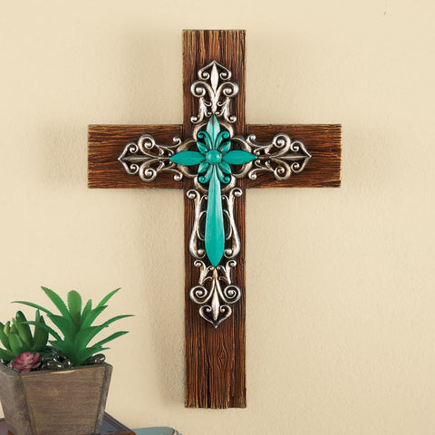 Wood Grain Texture Turquoise Scrolling Silver Wall Cross