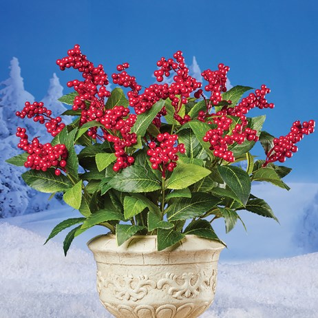 Set of 3 Artificial Red Berry Bushes