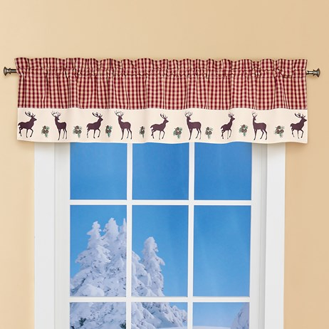 Burgundy and Ivory Plaid Woodland Deer Window Curtains (Valance)