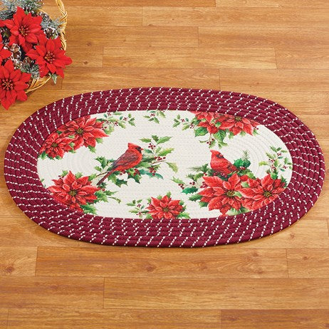 Holiday Cardinal and Poinsettia Oval Braided Accent Rug