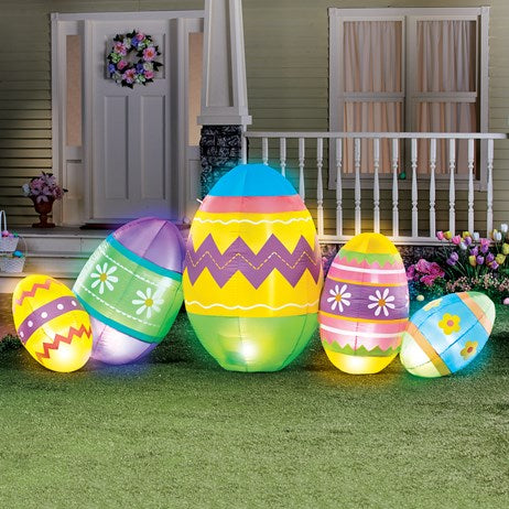 7-Foot Inflatable Connected Easter Eggs Outdoor Décor