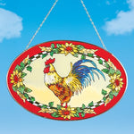 Glass Rooster & Sunflowers Oval Hanging Suncatcher