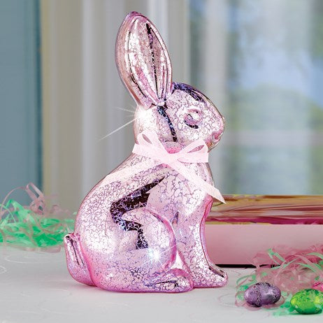 LED Lighted Mercury Glass Tabletop Easter Pink Bunny Figurine