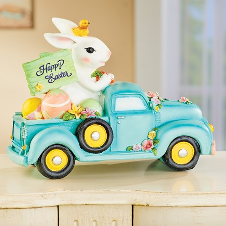 Happy Easter White Bunny Pickup Truck Tabletop Décor