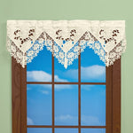 Elegant Intricate Cutwork Rosebud Lace Border Window Valance