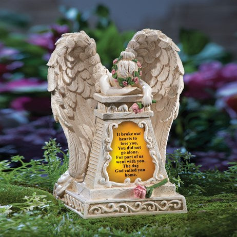 Weeping Angel Solar Memorial Garden Stone