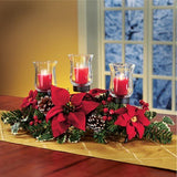 Poinsettia Christmas Candle Holder Centerpiece