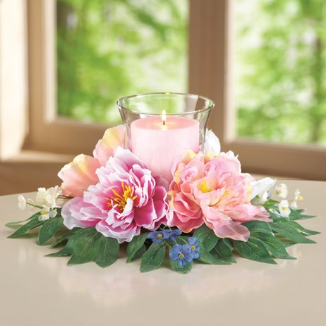Peony Floral Candle Holder Centerpiece