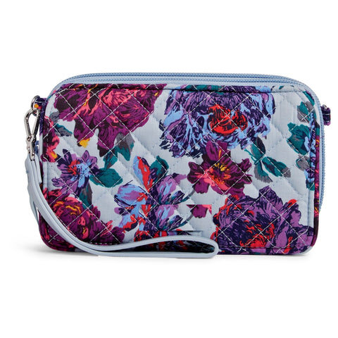 RFID All in One Crossbody Purse in Neon Blooms