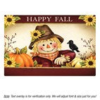 Personalized Happy Fall Scarecrow Family Name Doormat 18 x 24