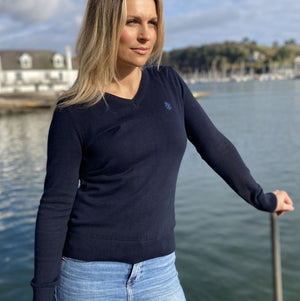 Ladies' Navy Blue 100% Cotton V Neck Jumper