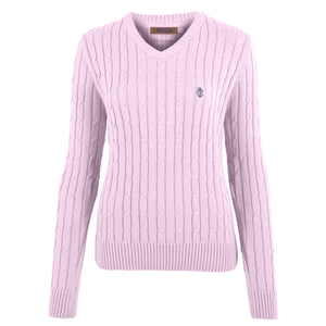 Ladies' Pink V Neck Cable Knit Cotton Sweater