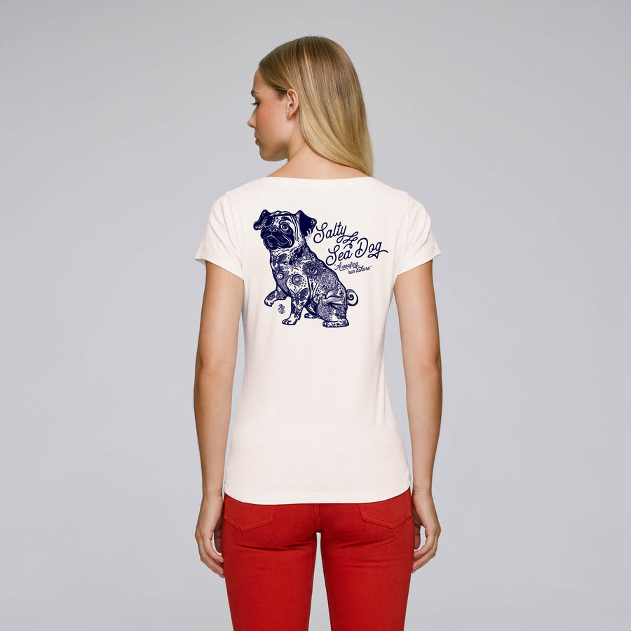 Ladies' Salty Sea Dog White T Shirt