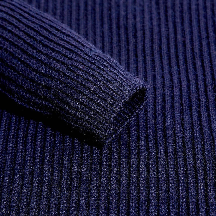 Navy Blue Lambswool Shooting Jumper