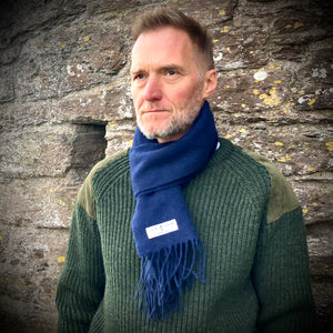 Navy Blue British Lambswool Scarf