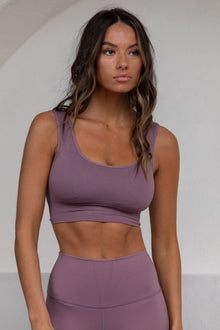 Flex Ribbed Padded Sports Bra - Berry