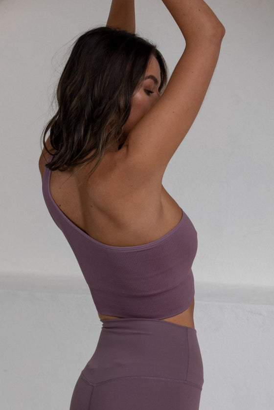 Flex Ribbed One Shoulder Top - Berry