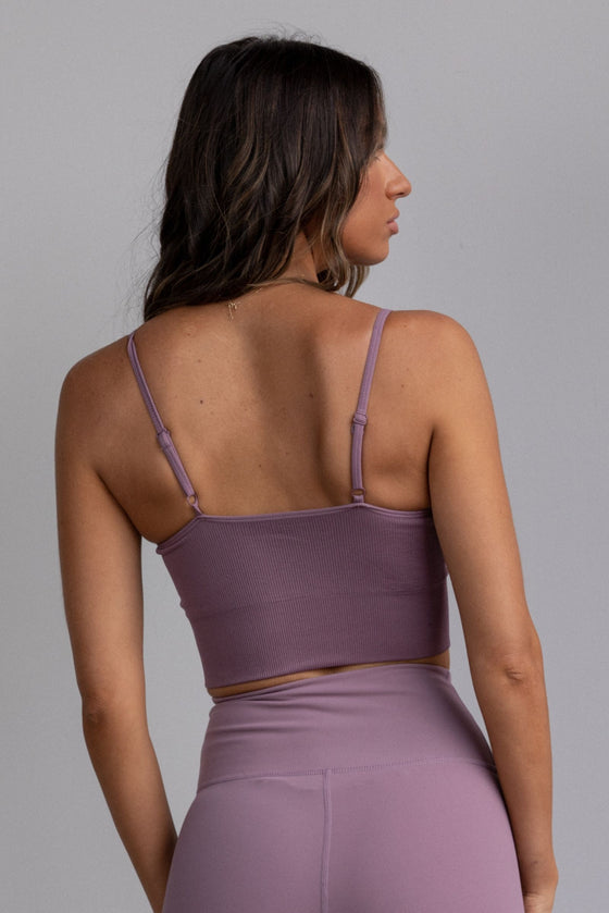 Flex Ribbed Tank with Adjustable Shoulders - Berry