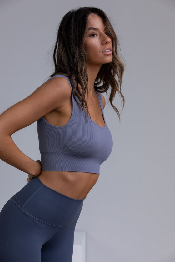Flex Ribbed Padded Sports Bra - Dusty Blue