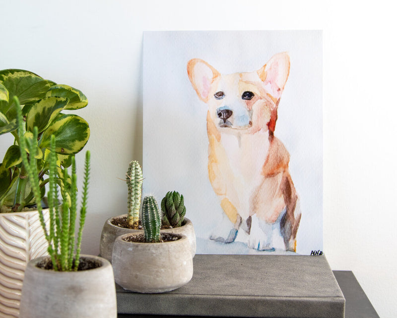 Corgi Watercolor Print