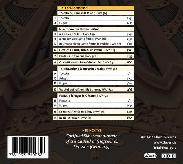 (2010) J.S. Bach: Organ Masterworks, Vol. II. - CD 1008 - Claves Records