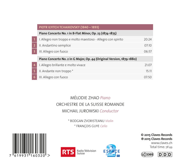 (2015) Tchaikovsky, Piano Concertos No. 1 & 2, Mélodie Zhao, Michail Jurowski - CD 1603 - Claves Records