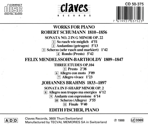 (1988) Romantic Recital for Piano - CD 0375 - Claves Records
