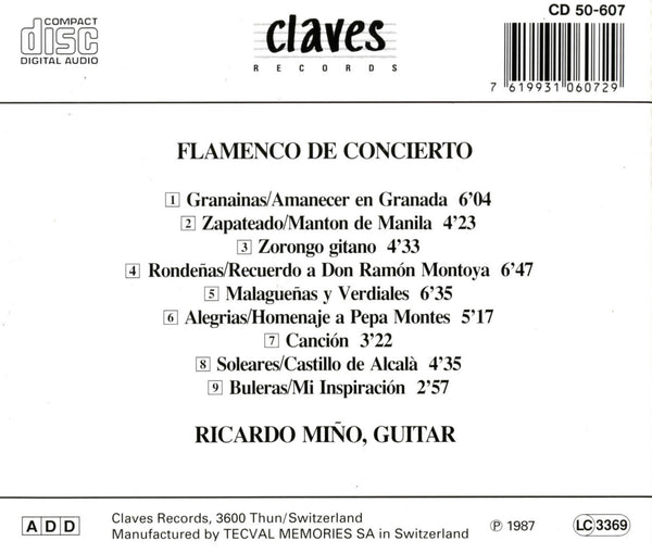 (1987) Flamenco De Concierto / CD 0607 - Claves Records