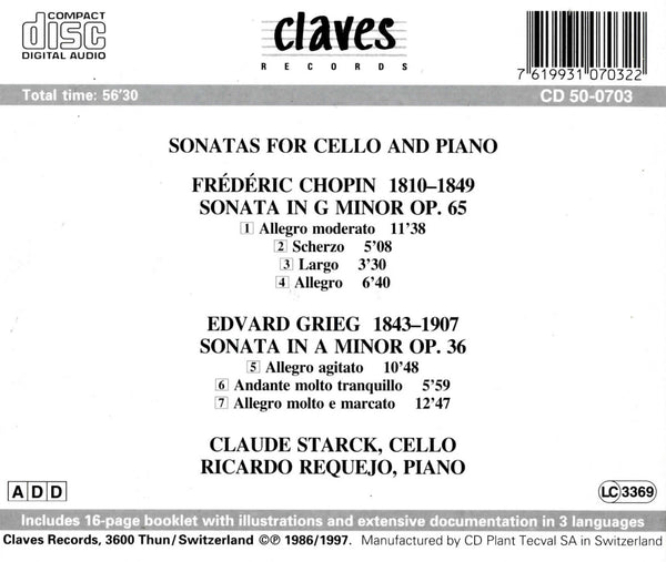 (1986) Chopin & Grieg: Sonatas for Cello & Piano / CD 0703 - Claves Records