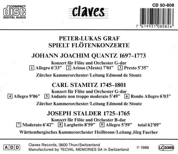 (1988) Classical Concertos for Flute / CD 0808 - Claves Records