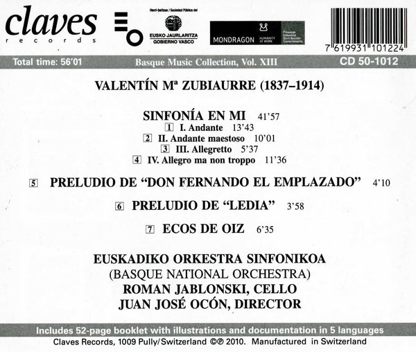 (2010) V. Zubiaurre: Symphonic works / CD 1012 - Claves Records