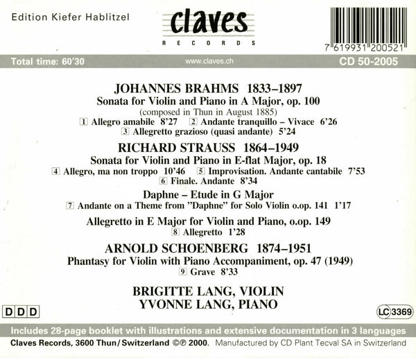 (2000) Brahms, R. Strauss & Schoenberg: Violin Sonatas - CD 2005 - Claves Records