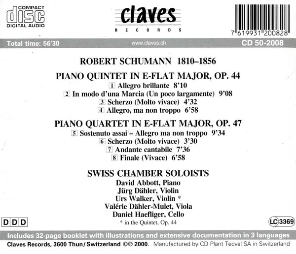 (2000) Schumann: Piano Quintet Op. 44 & Piano Quartet Op. 47 / CD 2008 - Claves Records