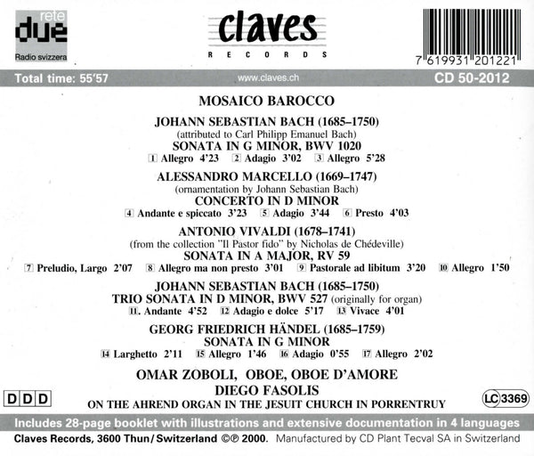 (2000) Bach, Marcello, Vivaldi, Händel: Works for Oboe & Organ / CD 2012 - Claves Records
